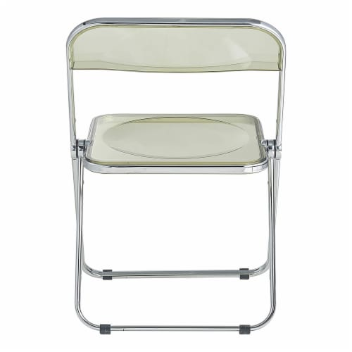 LeisureMod Lawrence Acrylic Portable Folding Chair w/ Sturdy Metal Frame, Amber Perspective: top