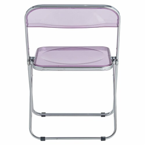 LeisureMod Lawrence Acrylic Portable Folding Chair with Metal Frame, Magenta Perspective: top