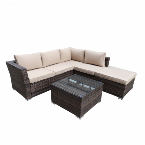 Kumo Outdoor Sectional Sofa 4-Piece Wicker Patio Furniture with Waterproof Cover Perspective: top