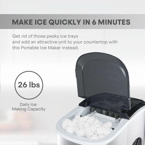 Kumo Countertop Ice Maker Machine - 9 Ice Cubes Ready in 6 Mins - Makes 26 lbs Ice/24h Perspective: top