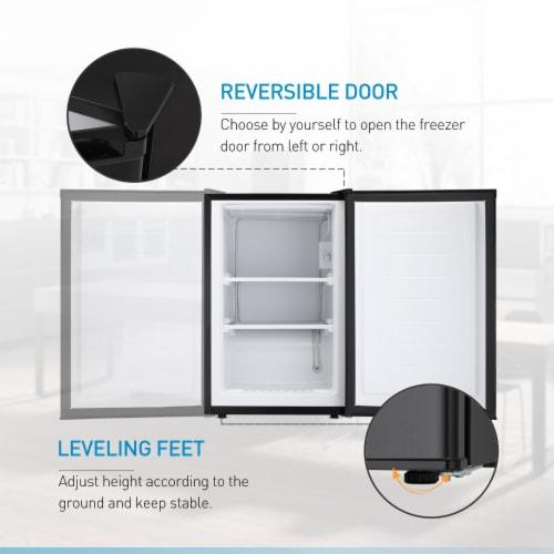 Kumo Upright Freezer 3.2 Cubic Feet Compact Reversible Single Door Vertical Freezer Black Perspective: top
