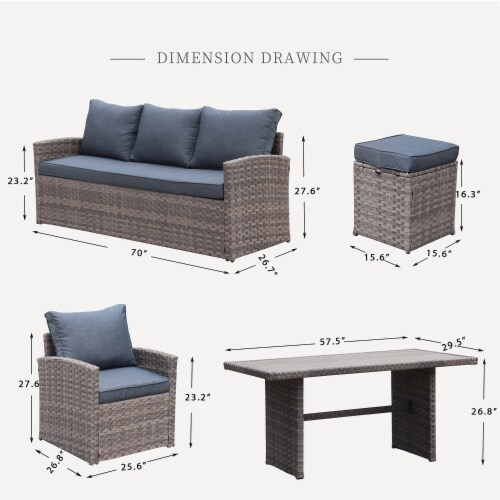Kumo Outdoor Dining Table Set Patio Conversation Furniture Light Brown Wicker Grey Cushion Perspective: top