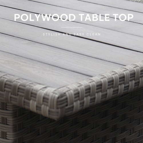 Kumo Outdoor Dining Table Set Patio Conversation Furniture Grey Wicker Grey Cushion Perspective: top