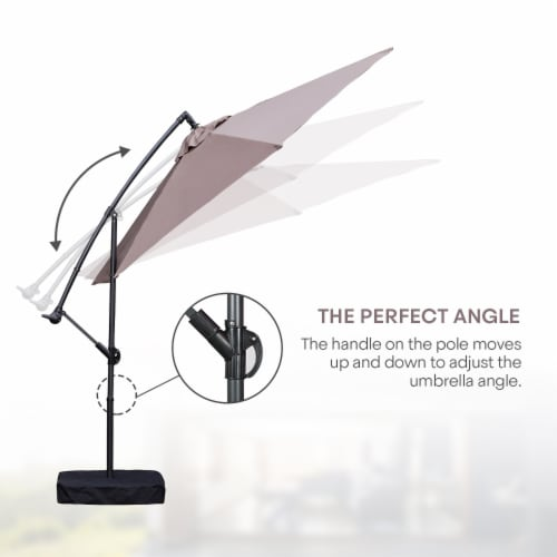 Kumo 10 Ft Patio Umbrella Outdoor with Base Offset Umbrella for Garden, TAUPE Perspective: top