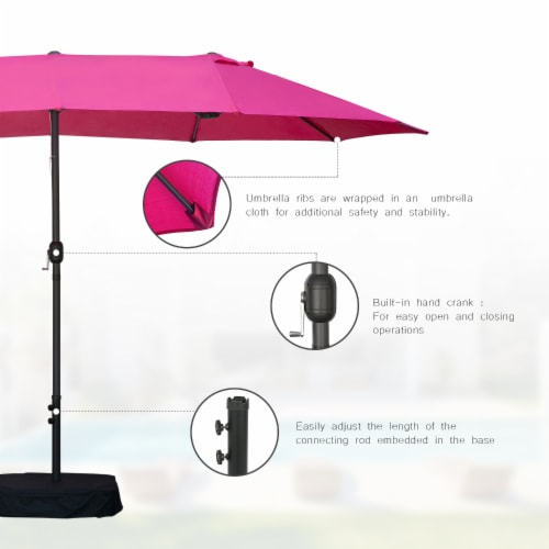 Kumo 15ft Rectangular Patio Double Sided Outdoor Large Umbrella With Sand Base(Rose Red) Perspective: top