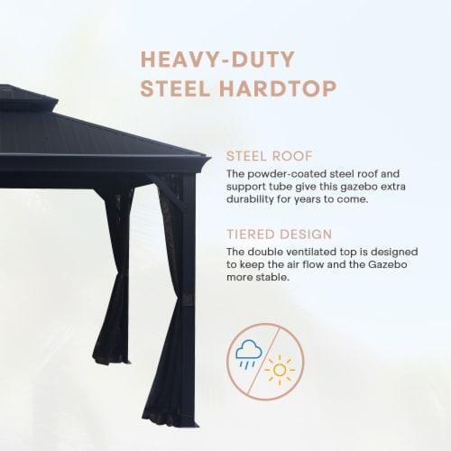 Kumo 10ft x 12ft Hardtop Gazebo Outdoor Metal Canopy Gazebo with Netting Perspective: top