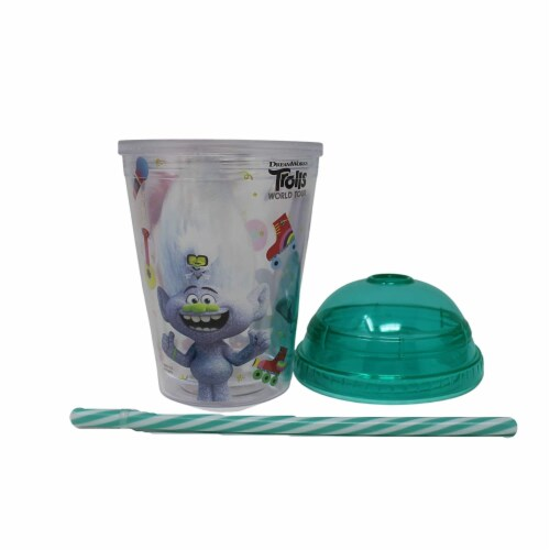 Trolls World Tour Tumbler with Mini Candy Lollipops Perspective: top