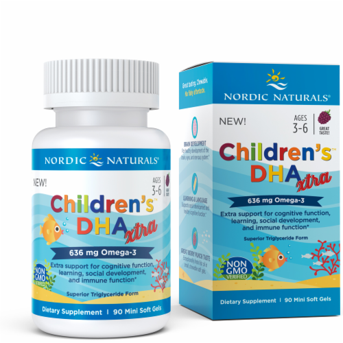 Nordic Naturals Children's DHA Extra Omega-3 Mini Soft Gels 636 mg Perspective: top