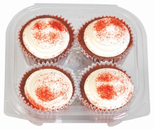 Kimberley's Bakeshoppe Red Velvet Cupcakes 4 Count Perspective: top