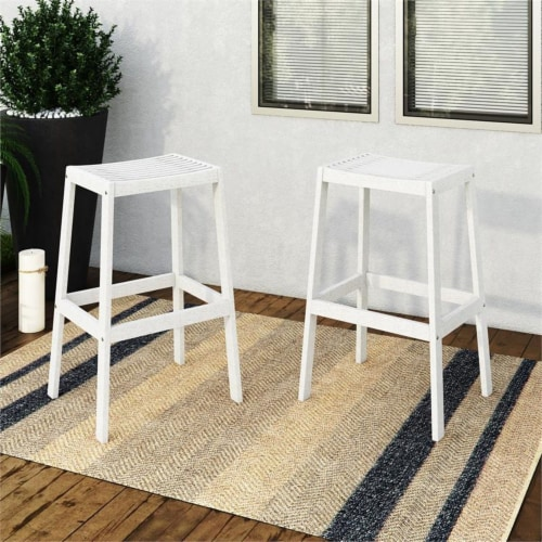 CorLiving Miramar White Washed Wood Outdoor Bar Stool Perspective: top