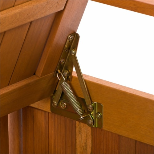 CorLiving Miramar Natural Hard Wood Outdoor Storage Bench Perspective: top