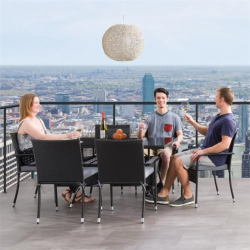 CorLiving 7pc Patio Dining Set - Black Resin Rattan Wicker Perspective: top