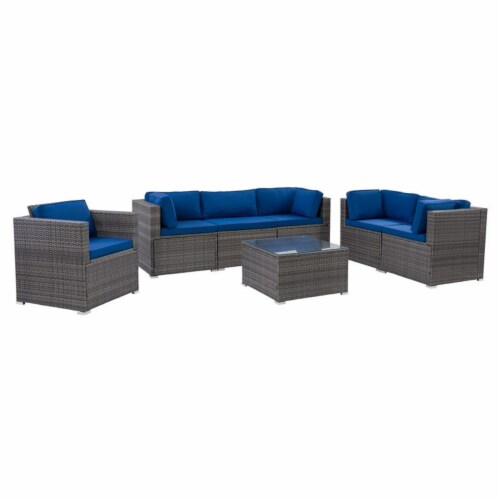 CorLiving Patio Sofa Sectional Set 7pc - Grey with Oxford Blue Fabric Cushions Perspective: top