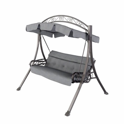 CorLiving Patio Swing with Arched Canopy in Textured Grey Perspective: top