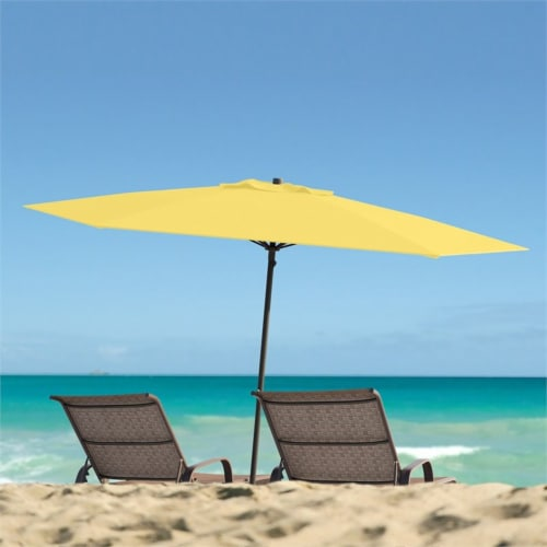 CorLiving 7.5ft UV Resistant Yellow Fabric Beach/Patio Umbrella Perspective: top