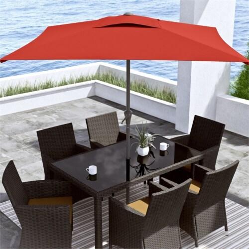 CorLiving  Square Tilting Crimson Red Fabric Patio Umbrella Perspective: top