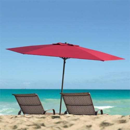 UV and Wind Resistant 7.5' Beach or Patio Umbrella in Red - CorLiving Perspective: top