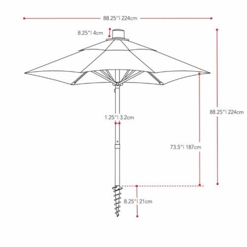 CorLiving 7.5ft UV Resistant Sand Gray Fabric Beach/Patio Umbrella Perspective: top