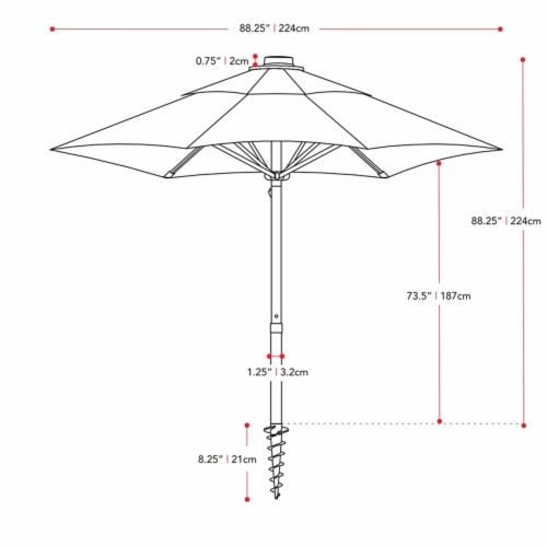 UV and Wind Resistant 7.5' Beach or Patio Umbrella in Brown - CorLiving Perspective: top