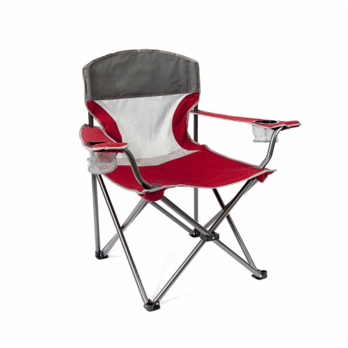 Mac Sports Heavy Duty Big Comfort Quad XL Folding Outdoor Camping Chair, Red Perspective: top