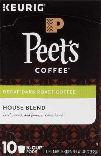 Peet's Coffee House Blend Decaffeinated Dark Roast Coffee K-Cup Pods Perspective: top