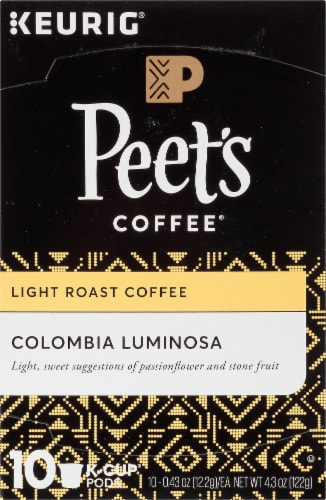 Peet's Coffee Colombia Luminosa Light Roast Coffee K-Cup Pods Perspective: top