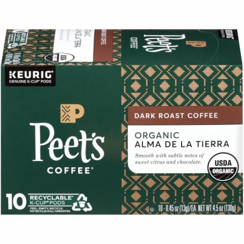 Peet's Coffee Organic Alma De La Tierra Dark Roast Coffee K-Cup Pods Perspective: top