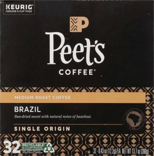 Peet's Coffee Brazil Minas Naturais Medium Roast Coffee K-Cup Pods 32 Count Perspective: top