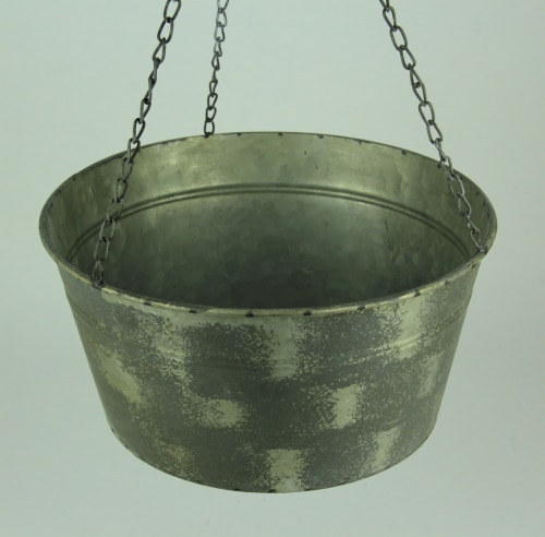 Vintage Metal Pail and Pulley Indoor/Outdoor Hanging Planter Perspective: top