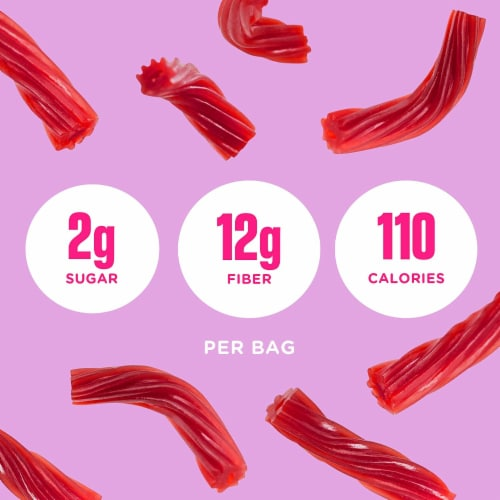 Smart Sweets Red Twists, New Twist on Licorice, Low Sugar Gummy Candy, 1.8oz. (Pack of 1) Perspective: top