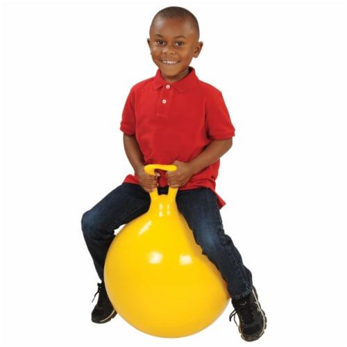 "Gymnic Children's Bouncing Hop 45 Ball Yellow 18"" diameter Perspective: top"