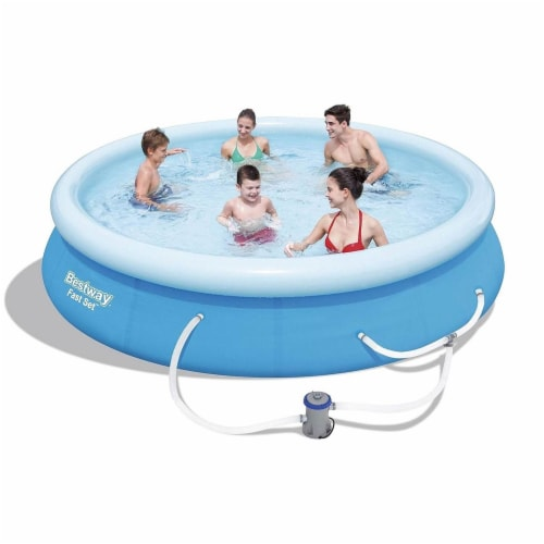 Bestway Fast Set Up 12ft x 30in Inflatable Above Ground Swimming Pool w/  Pump Perspective: top