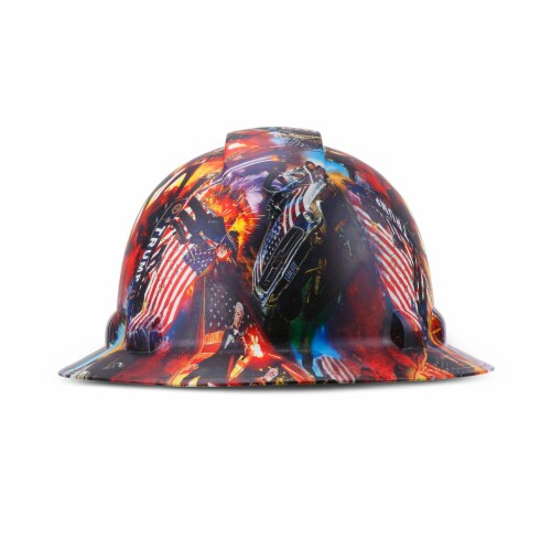 AcerPal 1PD1WH6M Full Brim Customized Pyramex Action Trump Maga Design Hard Hat Perspective: top