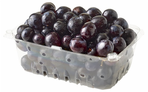 Black Seedless Clamshell Grapes Perspective: top