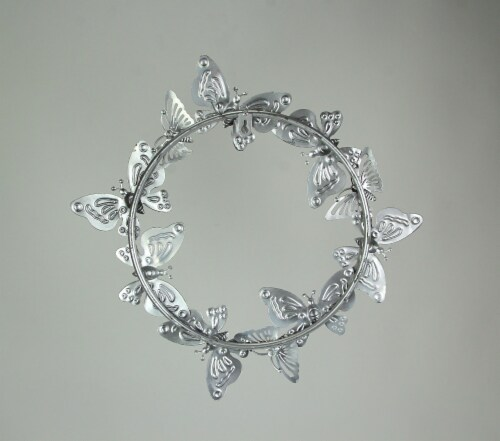 16 Inch Galvanized Metal Butterfly Wreath Rustic Hanging Wall Decor Home Accent Perspective: top