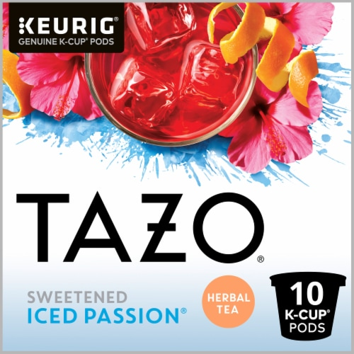 Tazo Iced Passion Sweetened Herbal Tea K-Cup Pods Perspective: top
