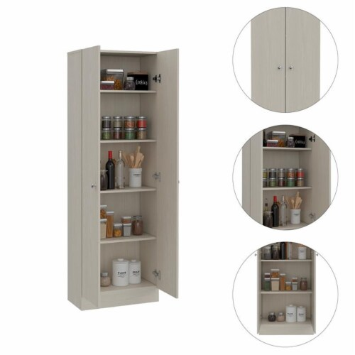 TuHome Modern Off White Engineered Wood Multistorage 70  Two Door Pantry Perspective: top