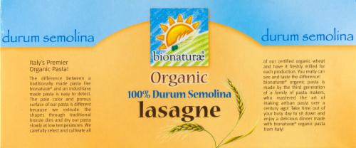 Bionaturae Organic Lasagne Pasta Perspective: top