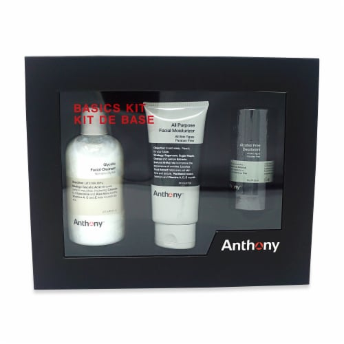 Anthony Basics Kit Glycolic Facial Cleanser, All Purpose Facial Moisturizer, and Deodorant Perspective: top