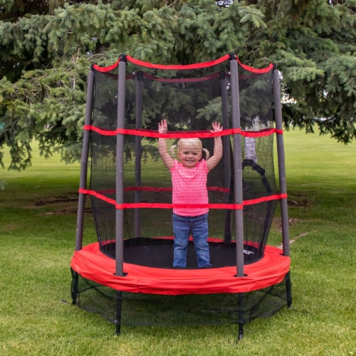 Propel Trampolines 55 Inch Preschool Trampoline with Zippered Entrance, Red Perspective: top
