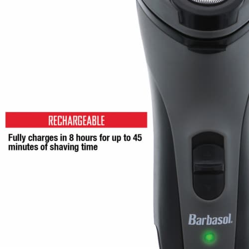 Barbasol CBR1-1002-BLY Men's Rechargeable Dry Rotary Shaver with Pop-up Trimmer Perspective: top