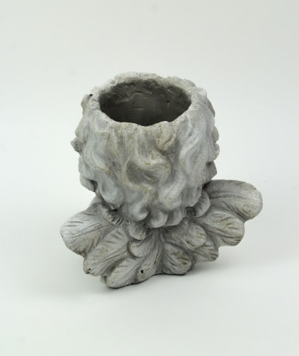 Weathered Gray Concrete Winged Cherub Angel Head Planter 7.75 Inches High Perspective: top