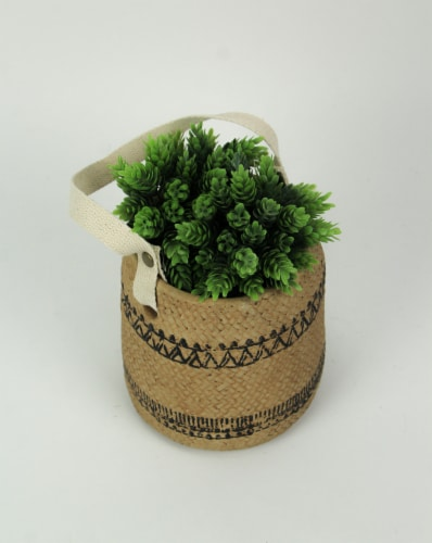 Canvas Hanging Cement Planter Indoor Outdoor Flower Pot Succulent Herb Holder Perspective: top