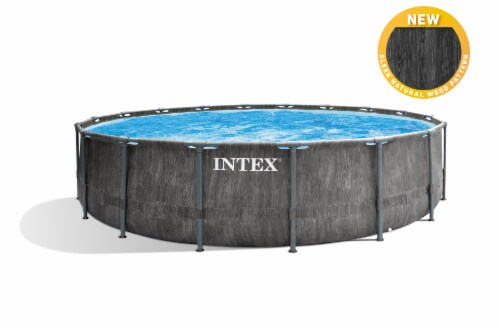 Intex Greywood Prism 18ft x 48in Frame Above Ground Swimming Pool Set with Pump Perspective: top