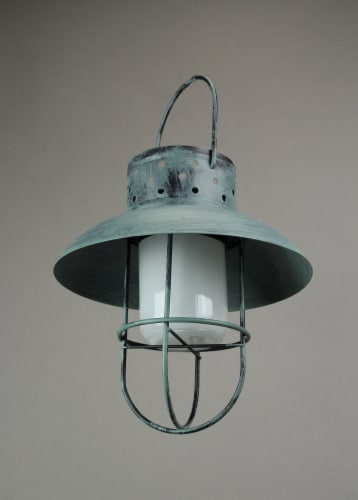 Weathered Coastal Blue Industrial Style Solar Powered LED Hanging Lantern Perspective: top