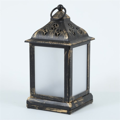 LuxenHome Weathered Black and Gold Plastic Battery-Op Table Star Light Lantern Perspective: top