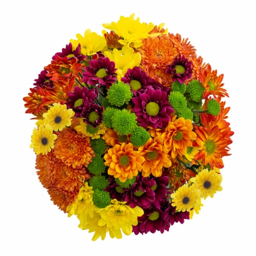 Fall Poms Bouquet Perspective: top