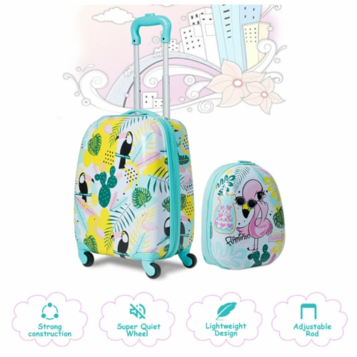 Gymax 2PC Kids Luggage Set Backpack & Rolling Suitcase Travel ABS Flamingos Perspective: top