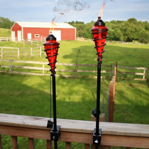 Sunnydaze 2-in-1 Metal Swirl with Red Glass Outdoor Lawn Torch - Set of 2 Perspective: top
