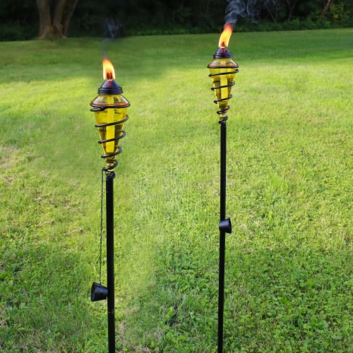 Sunnydaze 2-in-1 Metal Swirl with Yellow Glass Outdoor Lawn Torch - Set of 2 Perspective: top